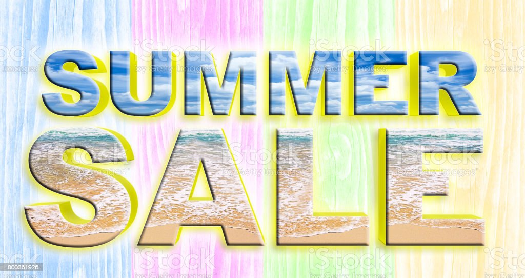 Fun and Bright Summer Sale text, letters have  perfectly, summer appearance, sun water beach. stock photo