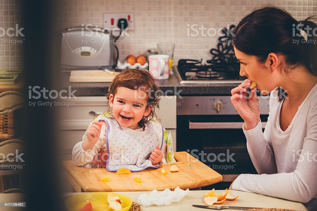 Fun at Breakfast Time stock photo