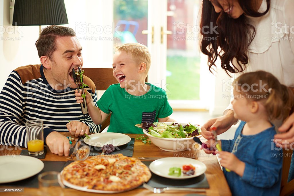 fun at mealtime stock photo