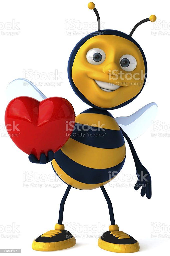 Fun bee in love stock photo