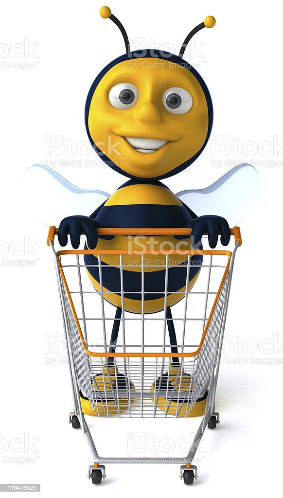 Fun bee with shopping cart stock photo