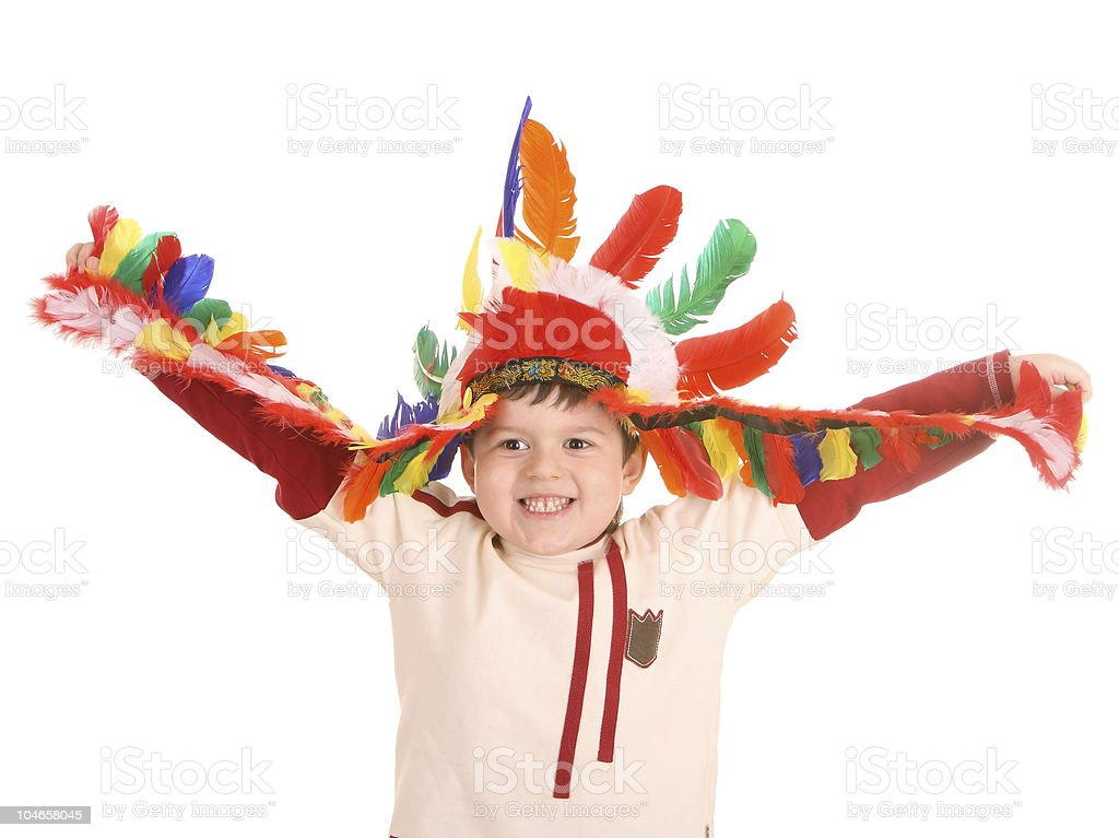 Fun boy in costume of indian. royalty-free stock photo