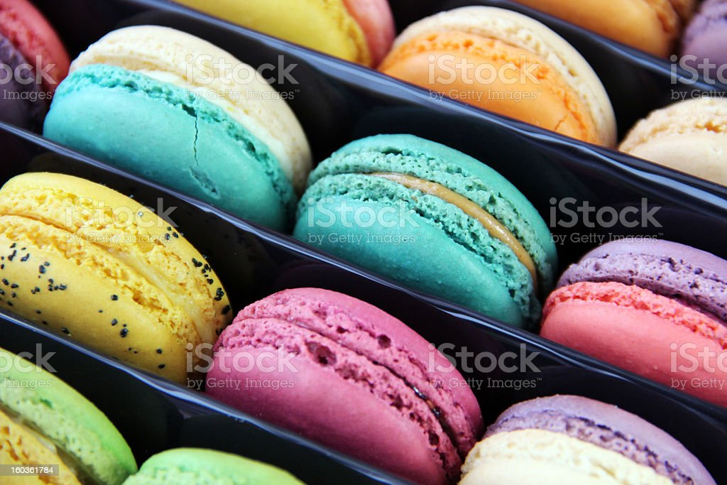 Fun, Brightly Colored Macarons in Box royalty-free stock photo