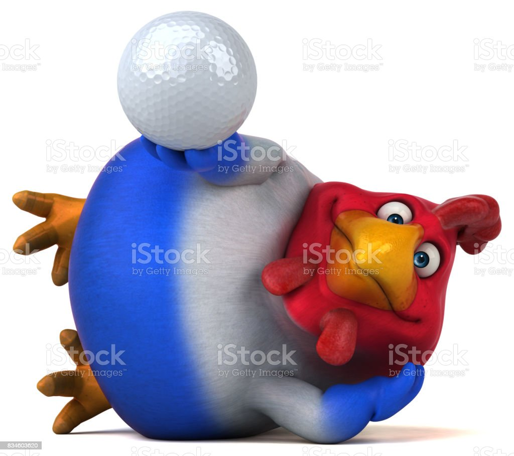 Fun chicken - 3D Illustration stock photo