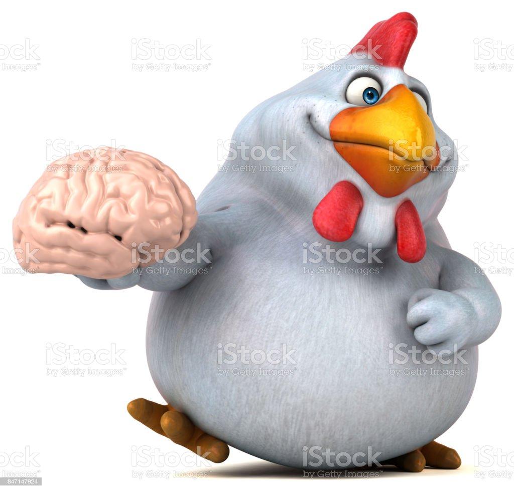 Fun chicken - 3D Illustration stock photo