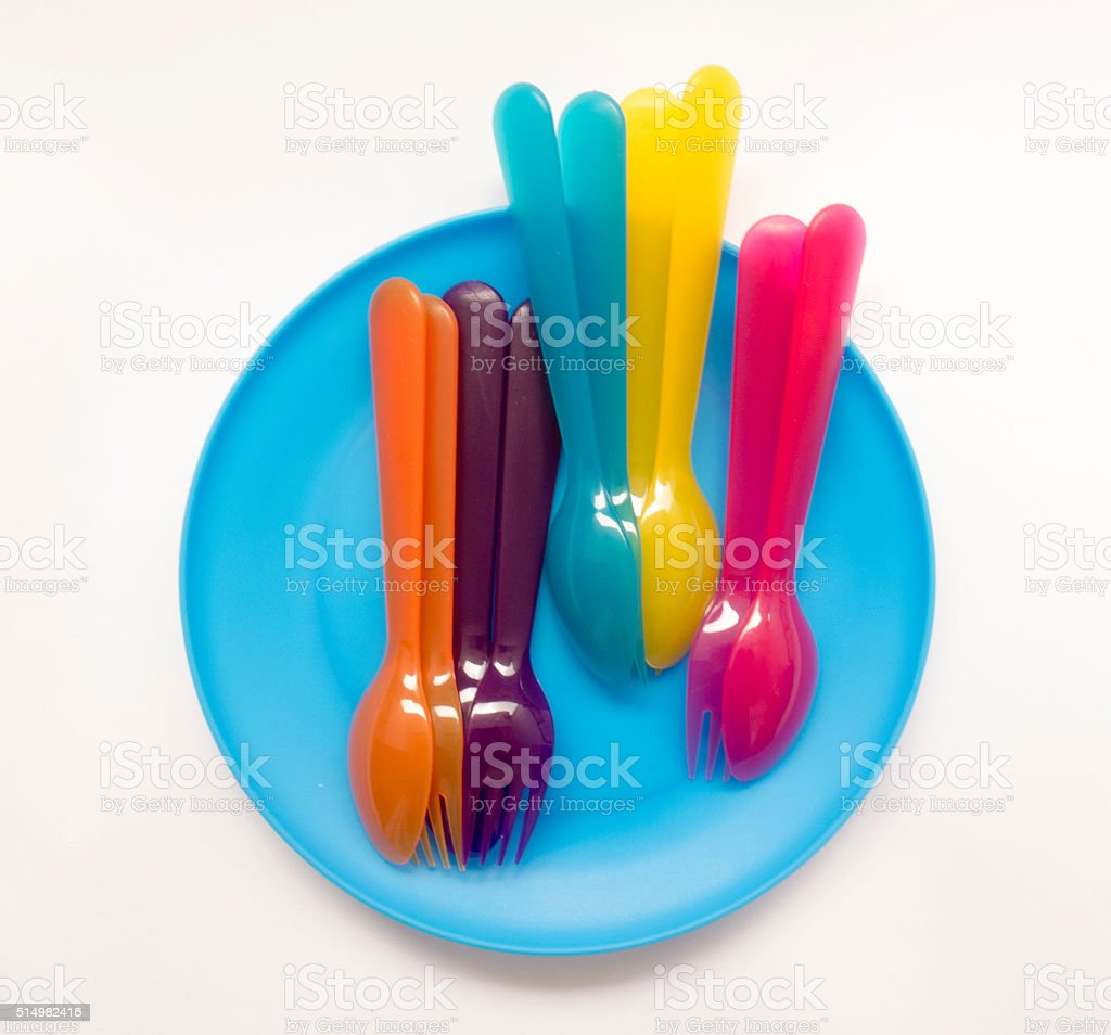 fun colored dishes for holidays and picnics stock photo