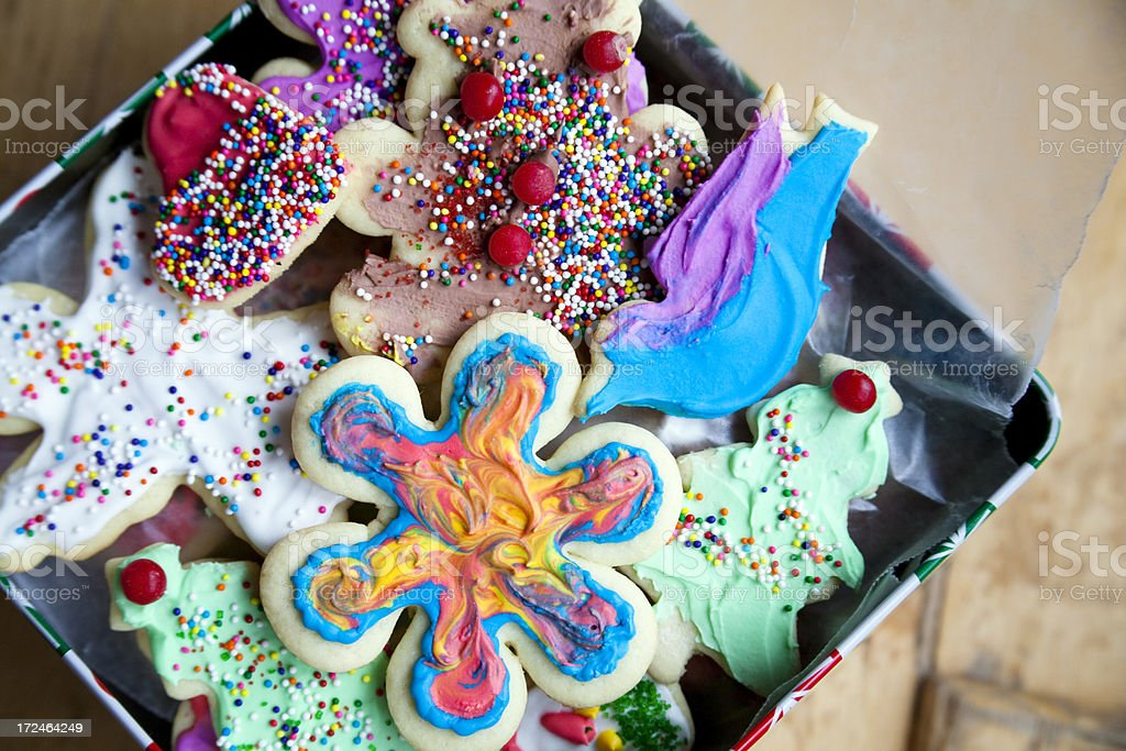 Fun Colorful Tie-dyed Iced Sugar Cookies for Christmas royalty-free stock photo