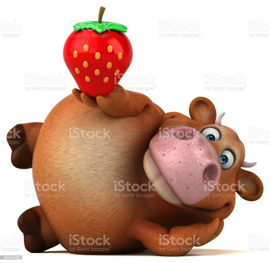 Fun cow - 3D Illustration stock photo