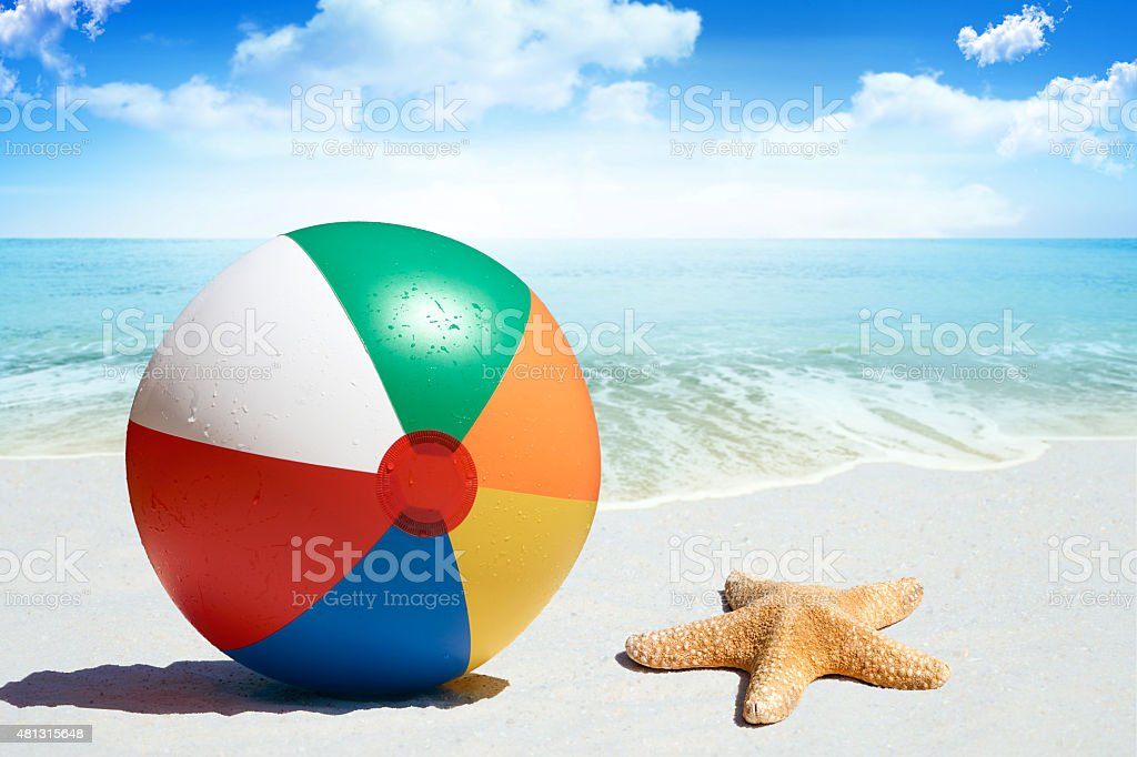 Fun day at the beach stock photo