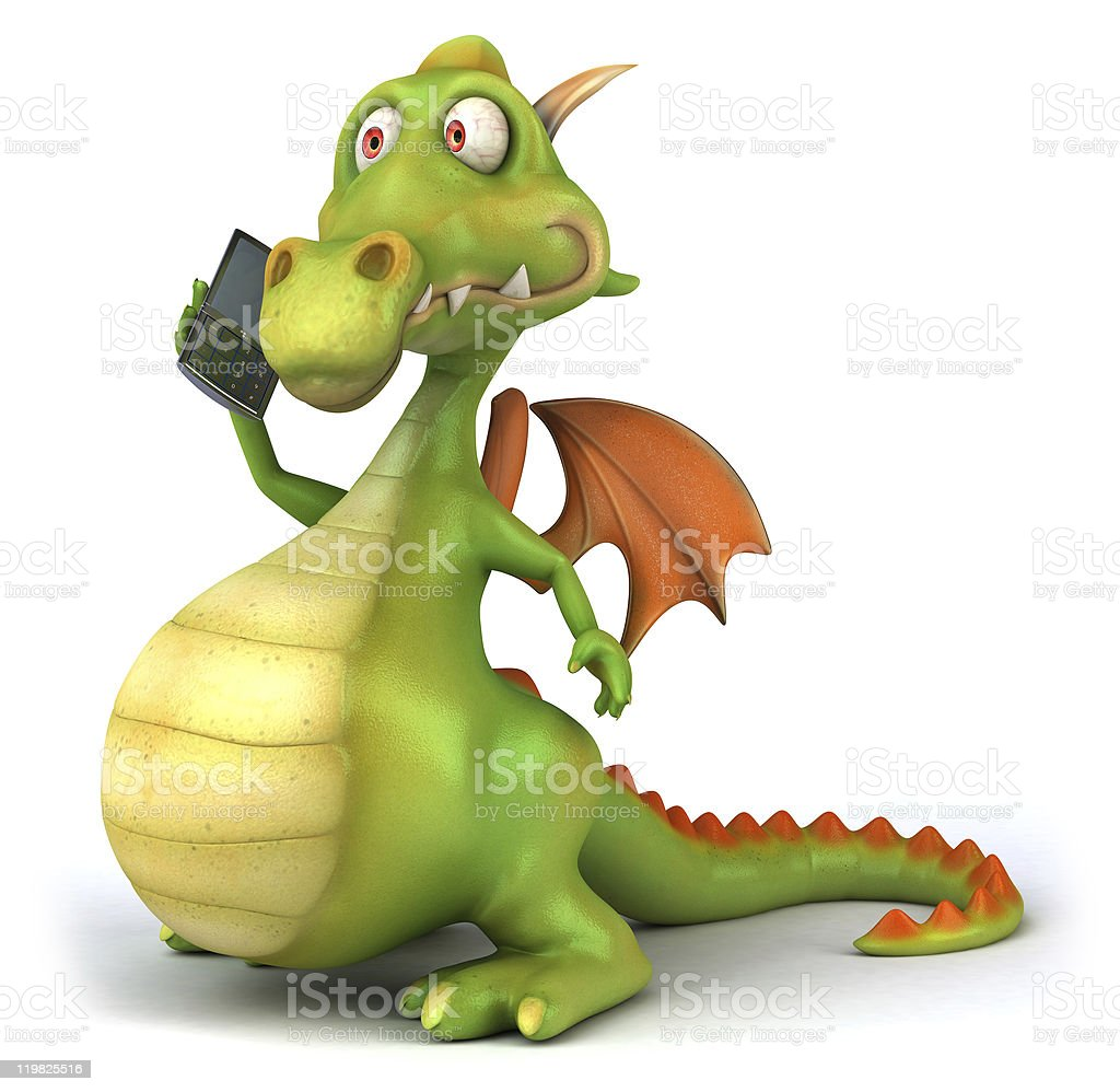 Fun dragon with a mobile phone royalty-free stock photo