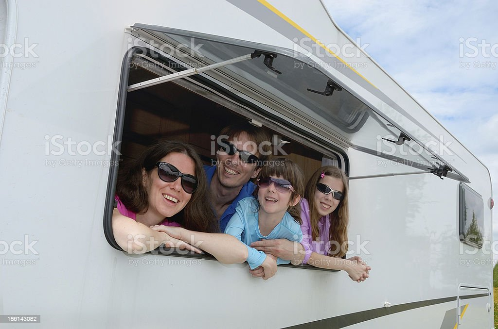 Fun family holidays in motorhome or RV stock photo