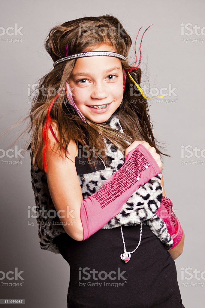 Fun Fashion Girl Looking at Camera royalty-free stock photo