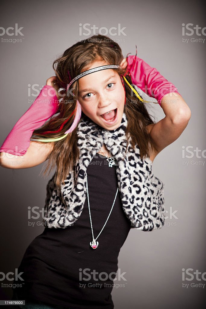 Fun Fashion Girl Looking at Camera stock photo