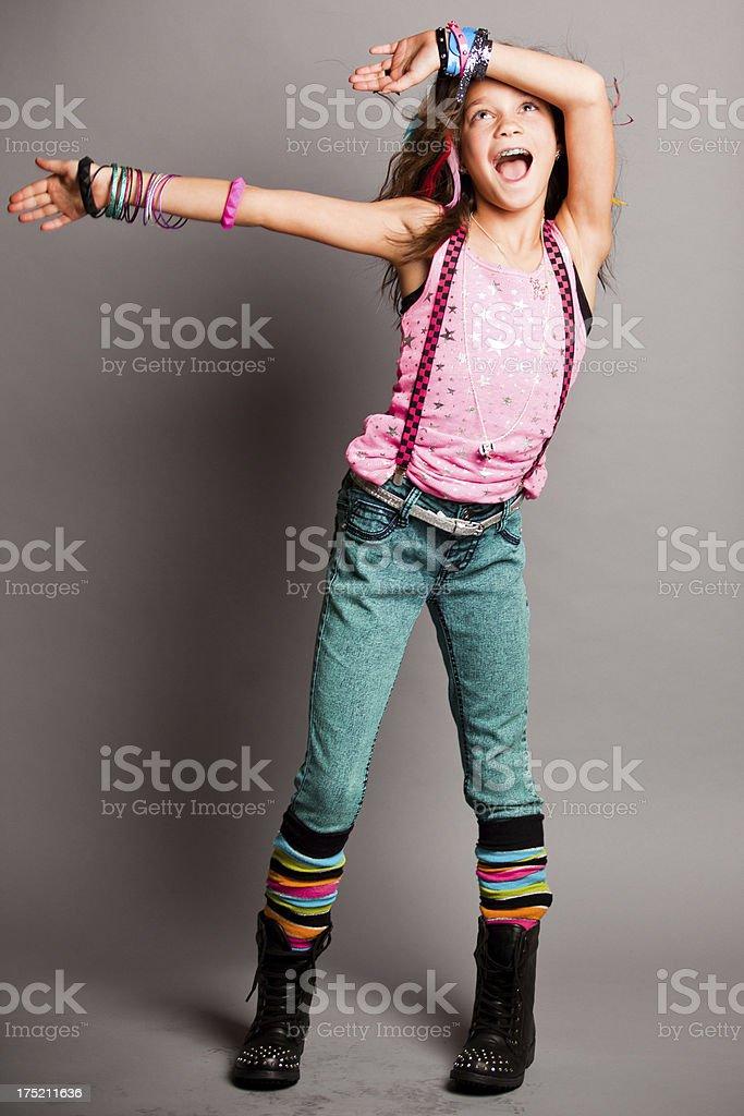 Fun Fashion Girl Looking at Camera royalty-free stock photo