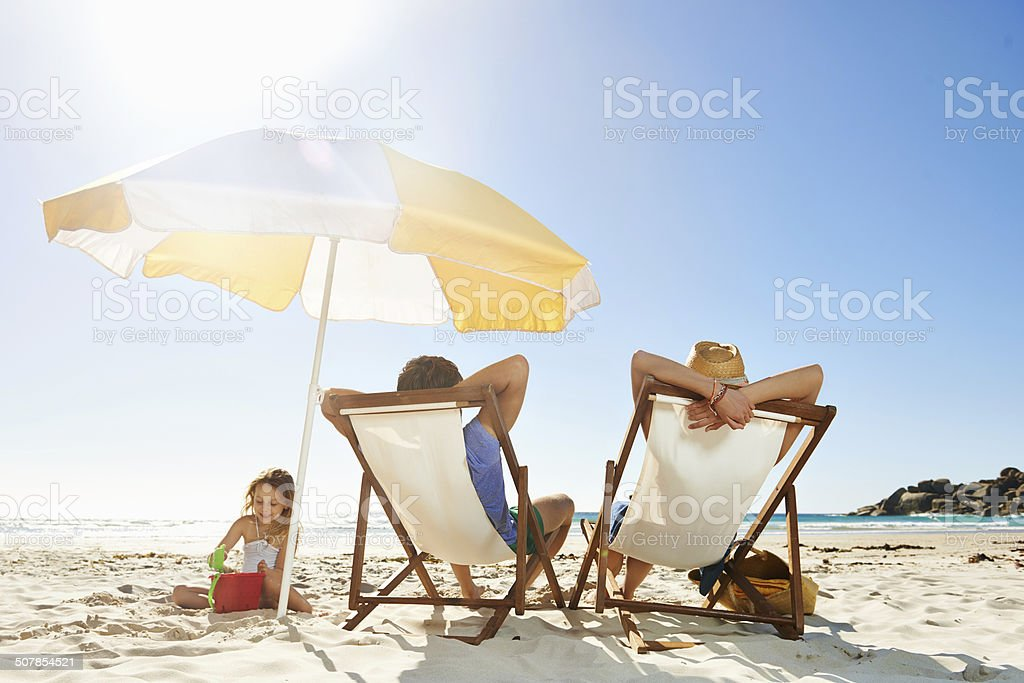 Fun for all at the beach stock photo