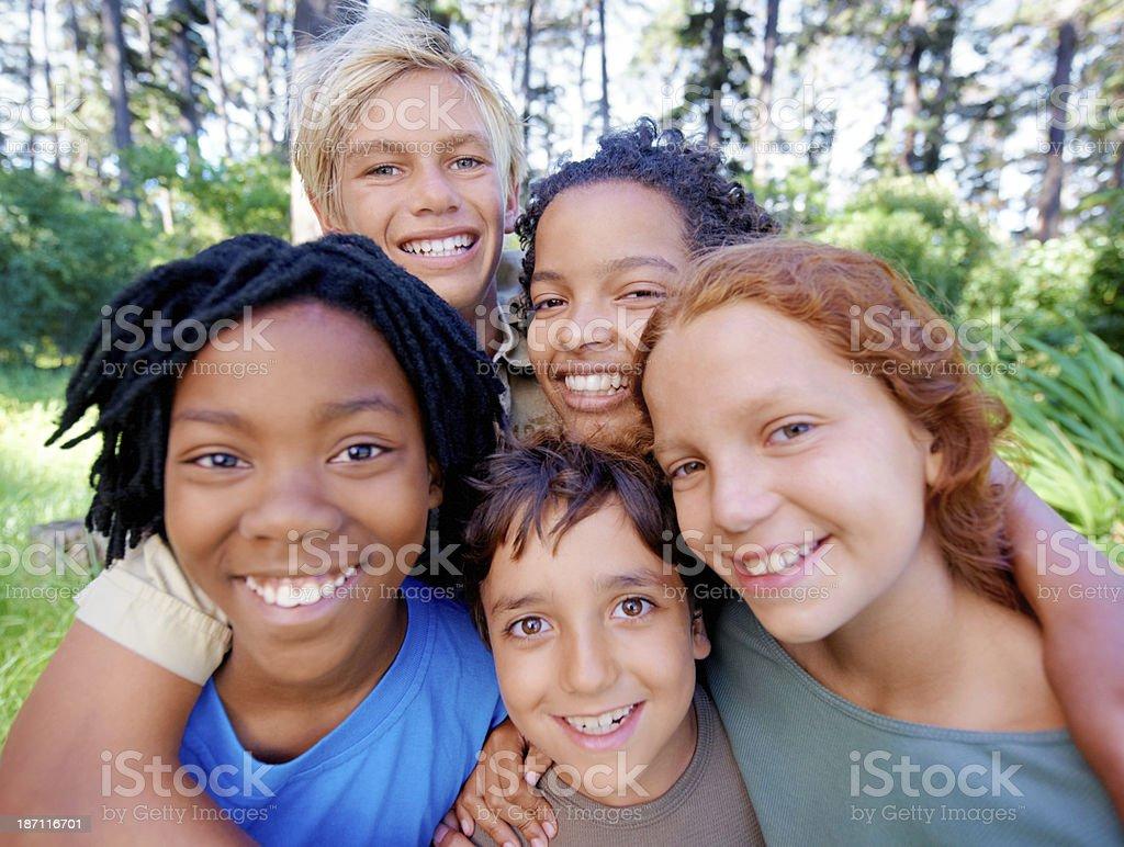 Fun, friends and fresh air! stock photo