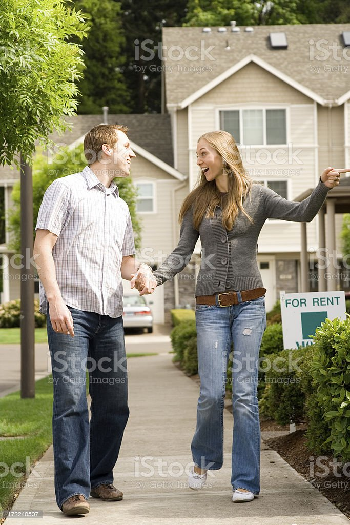 fun house shopping couple, cute, attractive, royalty-free stock photo