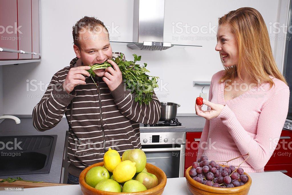 Fun in kitchen royalty-free stock photo