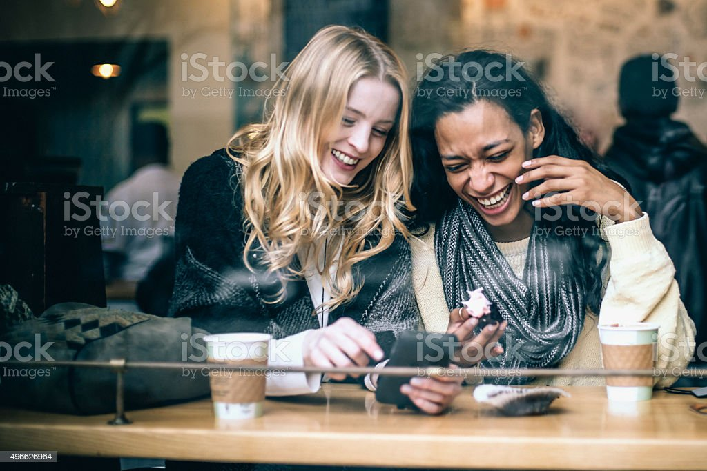 Fun in the coffee shop stock photo
