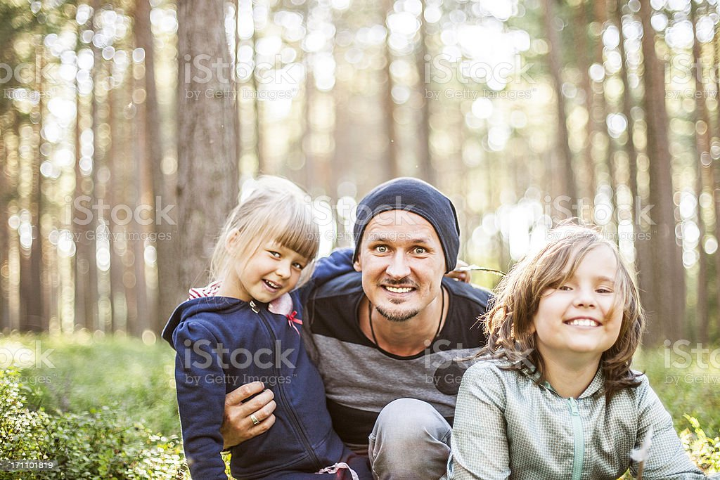Fun in the forest. stock photo
