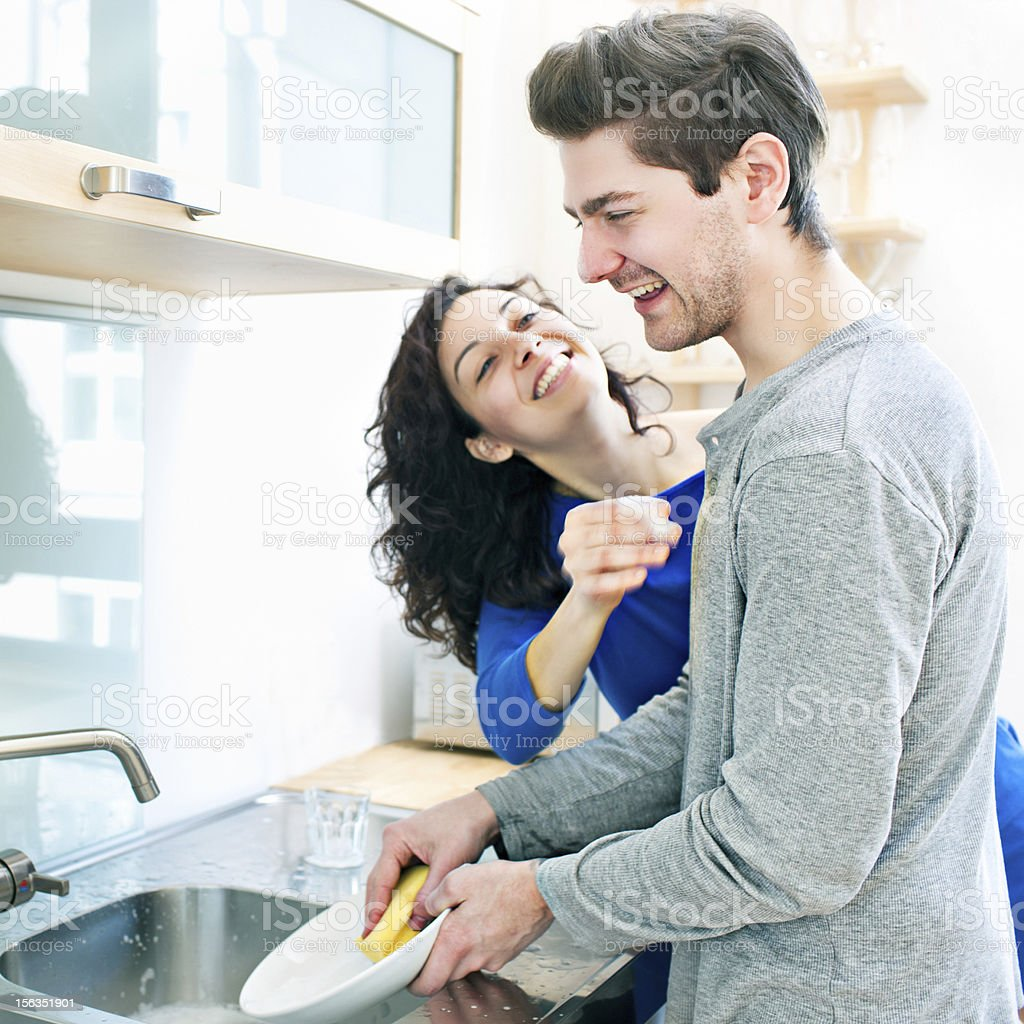 Fun in the kitchen stock photo