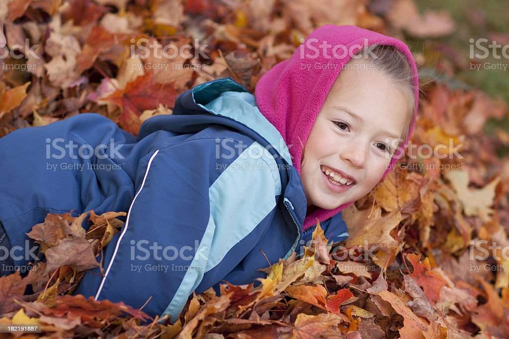 Fun in the leaves stock photo