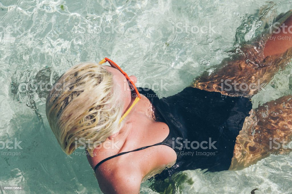 Fun in the water, Maldives stock photo