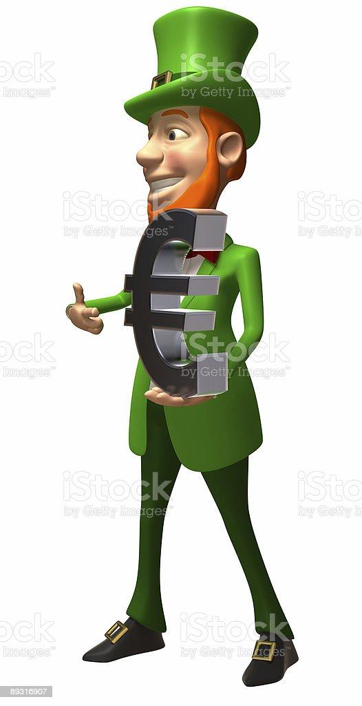 Fun Irish leprechaun with a euro royalty-free stock photo