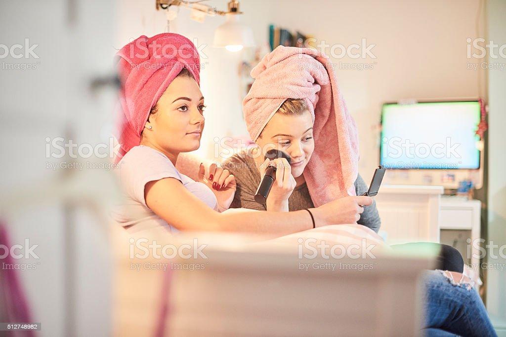 fun make-up friends stock photo