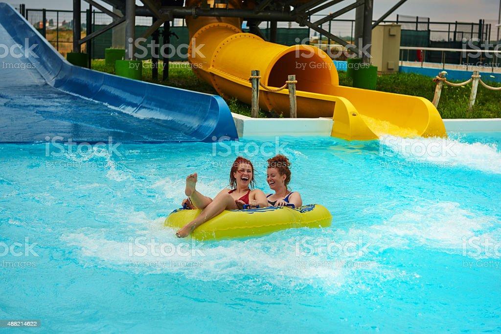 fun moment in aqua park stock photo