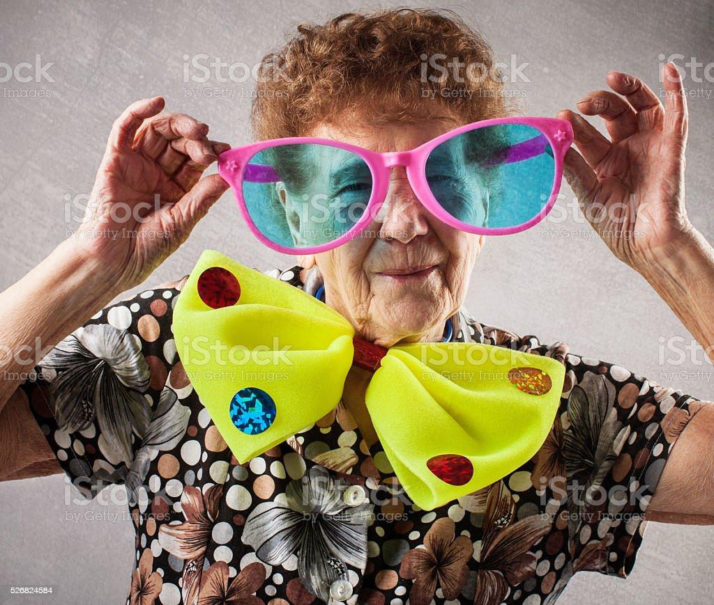 Fun old woman stock photo