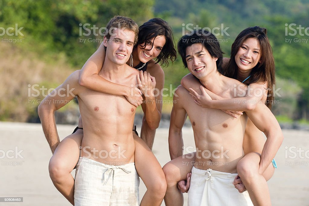 Fun On Beach royalty-free stock photo