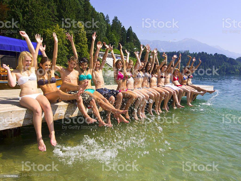 Fun on pier royalty-free stock photo