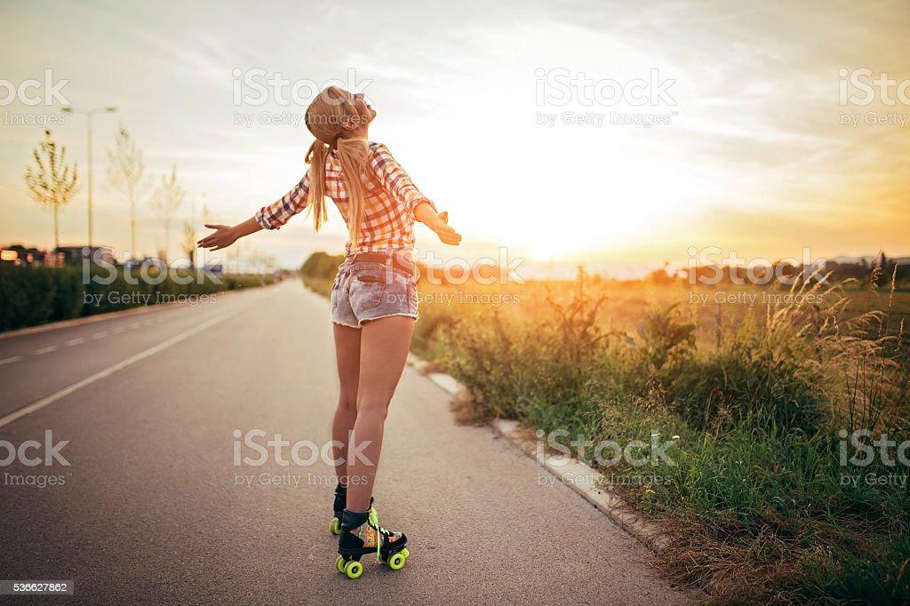 Fun on roller skates stock photo