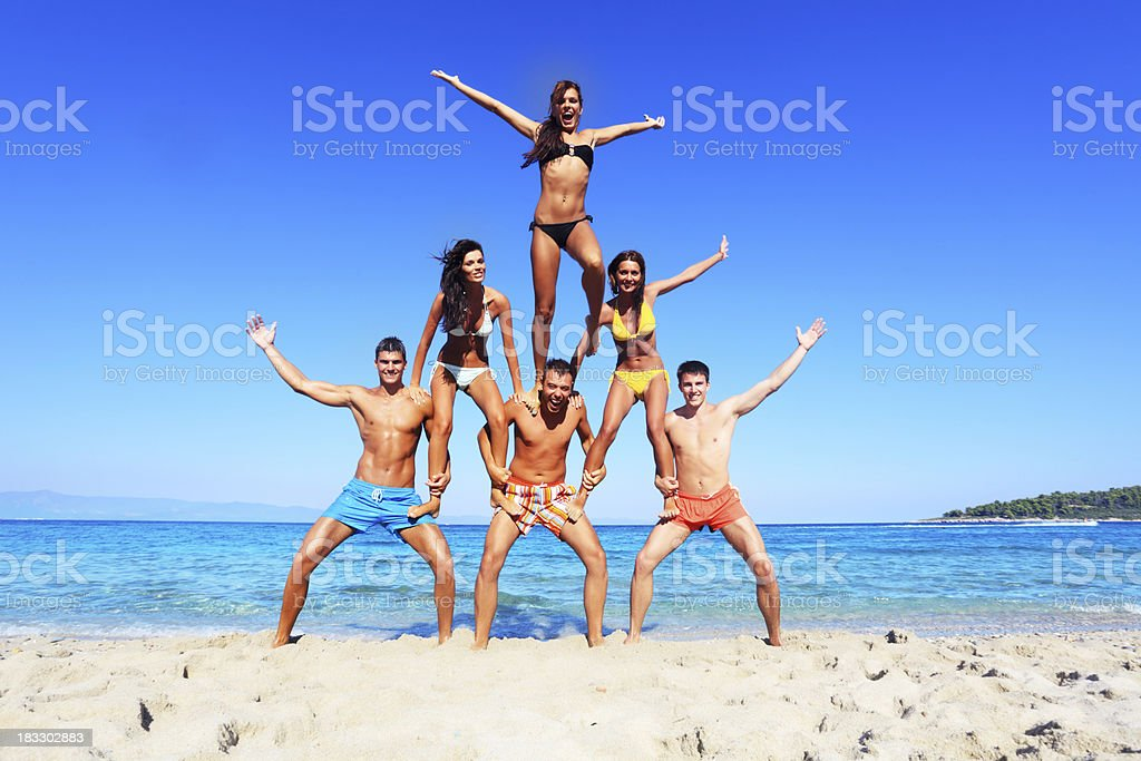 Fun on the beach. stock photo
