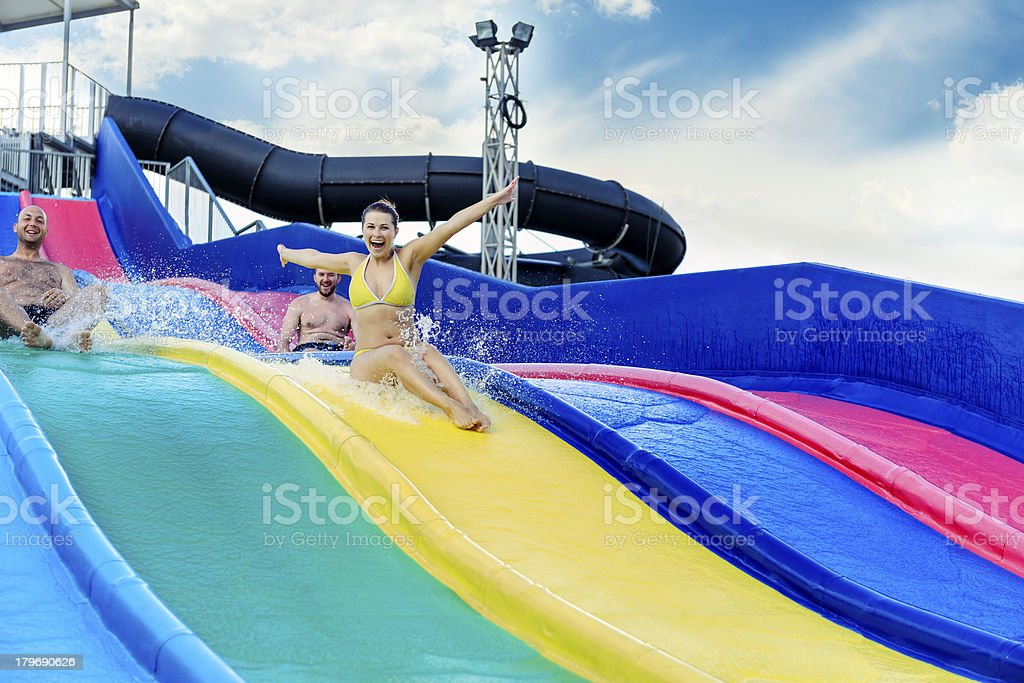 fun on water slide royalty-free stock photo