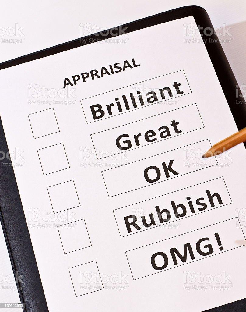Fun performance appraisal form stock photo