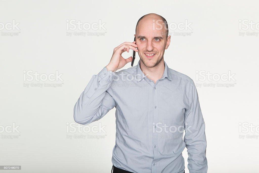 Fun phone call stock photo