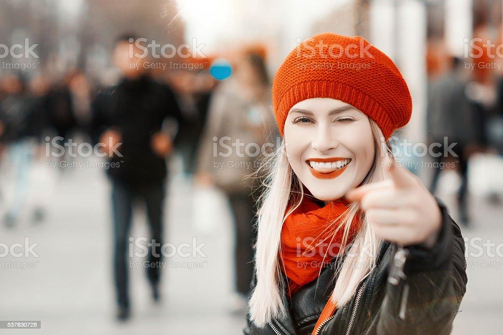 fun portrait in the city stock photo