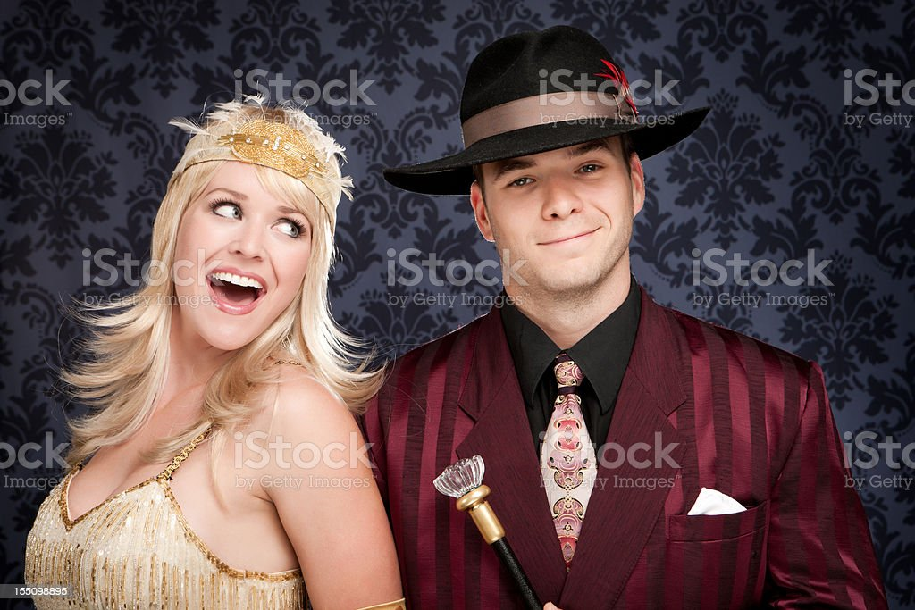 Fun Retro Gangster Couple stock photo