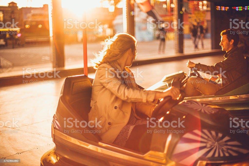 Fun ride on the bumper cars stock photo