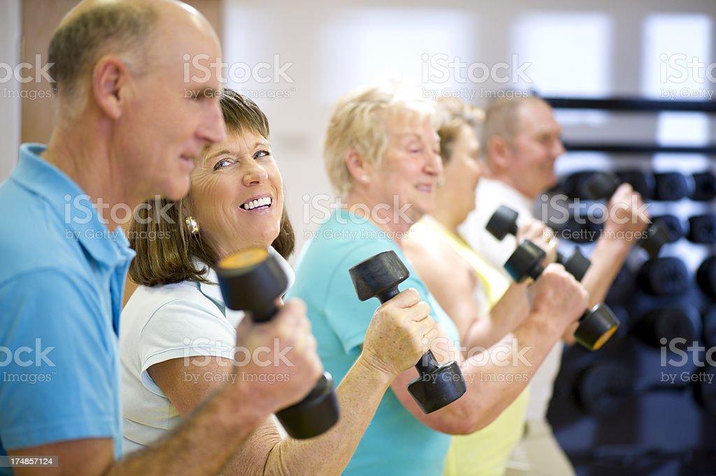 fun senior aerobics royalty-free stock photo