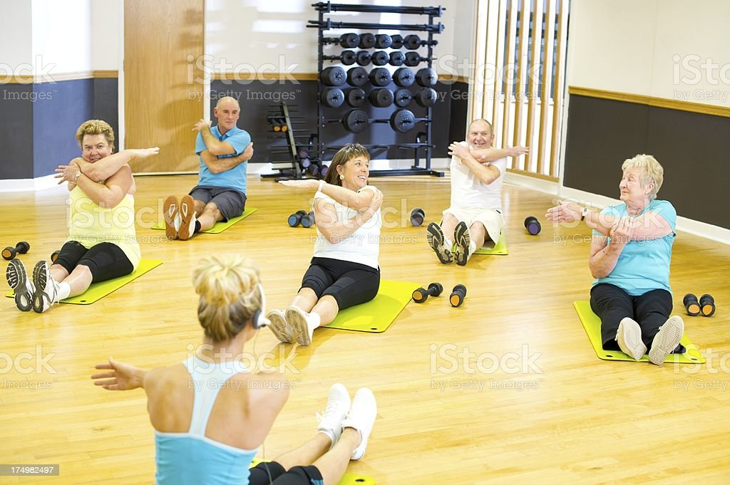 fun seniors at step class royalty-free stock photo