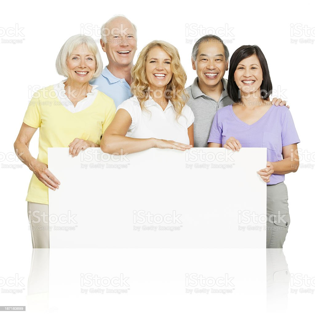 Fun Seniors Holding a Poster (with Clipping Path) royalty-free stock photo