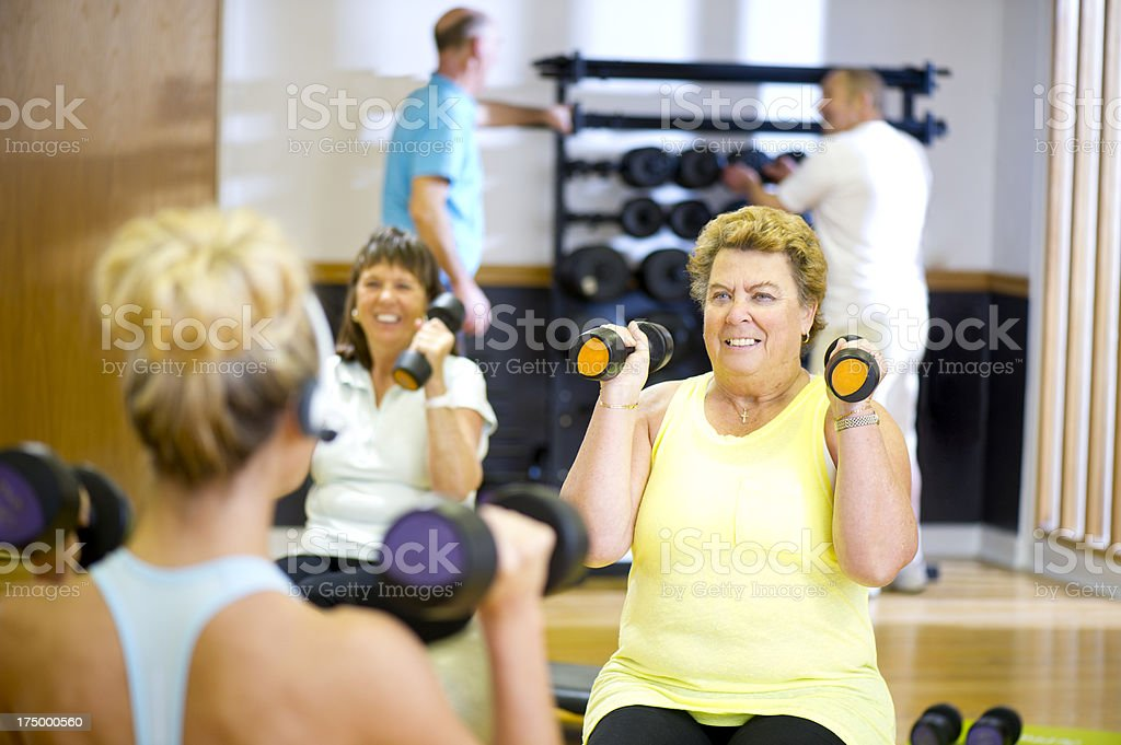fun seniors step aerobics stock photo