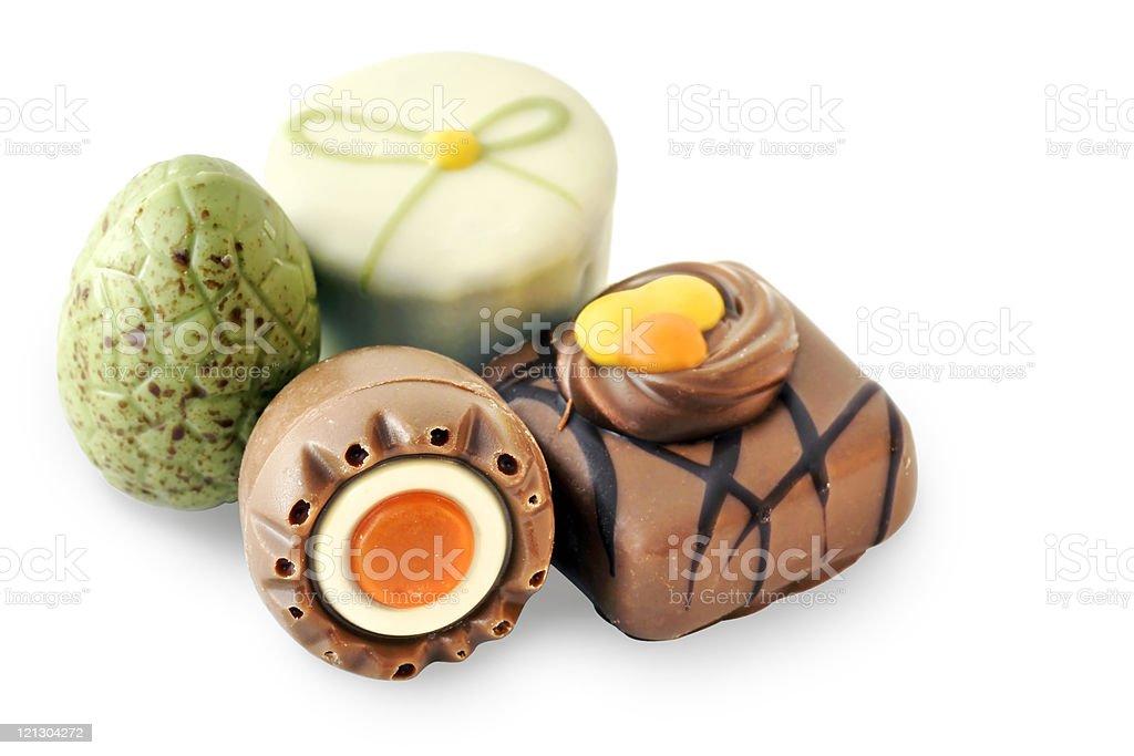 Fun shape fancy praline chocolates royalty-free stock photo