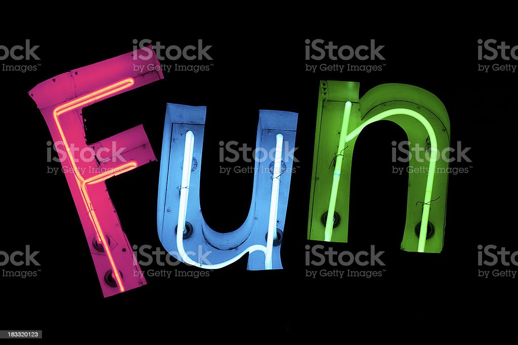 Fun Spelled Out in Colorful Neon stock photo