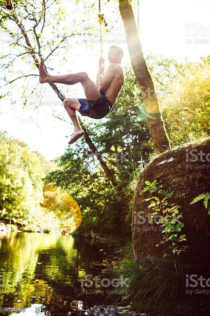 Fun Summer Water Play in River stock photo