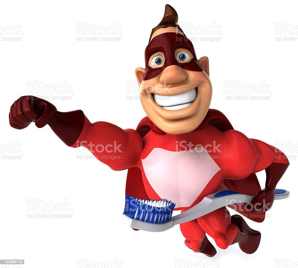 Fun superhero with a toothbrush royalty-free stock photo