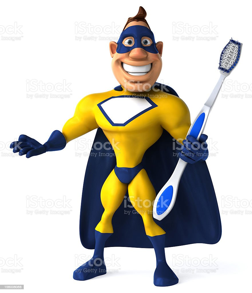 Fun superhero with a toothbrush stock photo